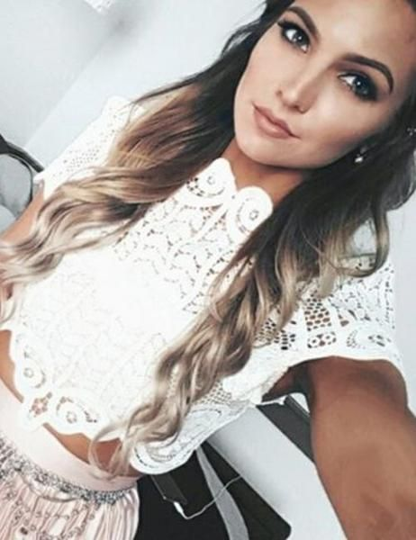 2d77e16f97802 Women s Elegant Lace Crochet Short Sleeve White Blouse Crop Tank Top for  Street Style and Streetwear.