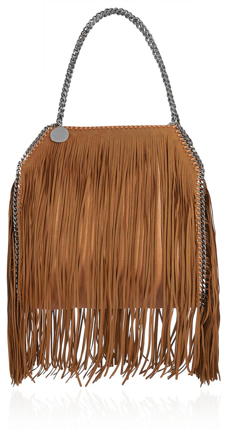 STELLA MCCARTNEY The Falabella medium fringed faux brushed-leather shoulder  bag b6fe4ea264451