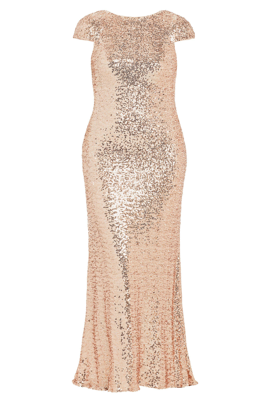badgley mischka rose gold sequin gown size-inclusive designer