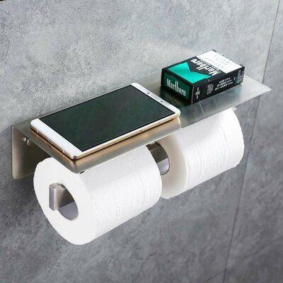 New Stainless steel Bathroom Toilet Paper Holder Roll Tissue Rack Brushed Nickel
