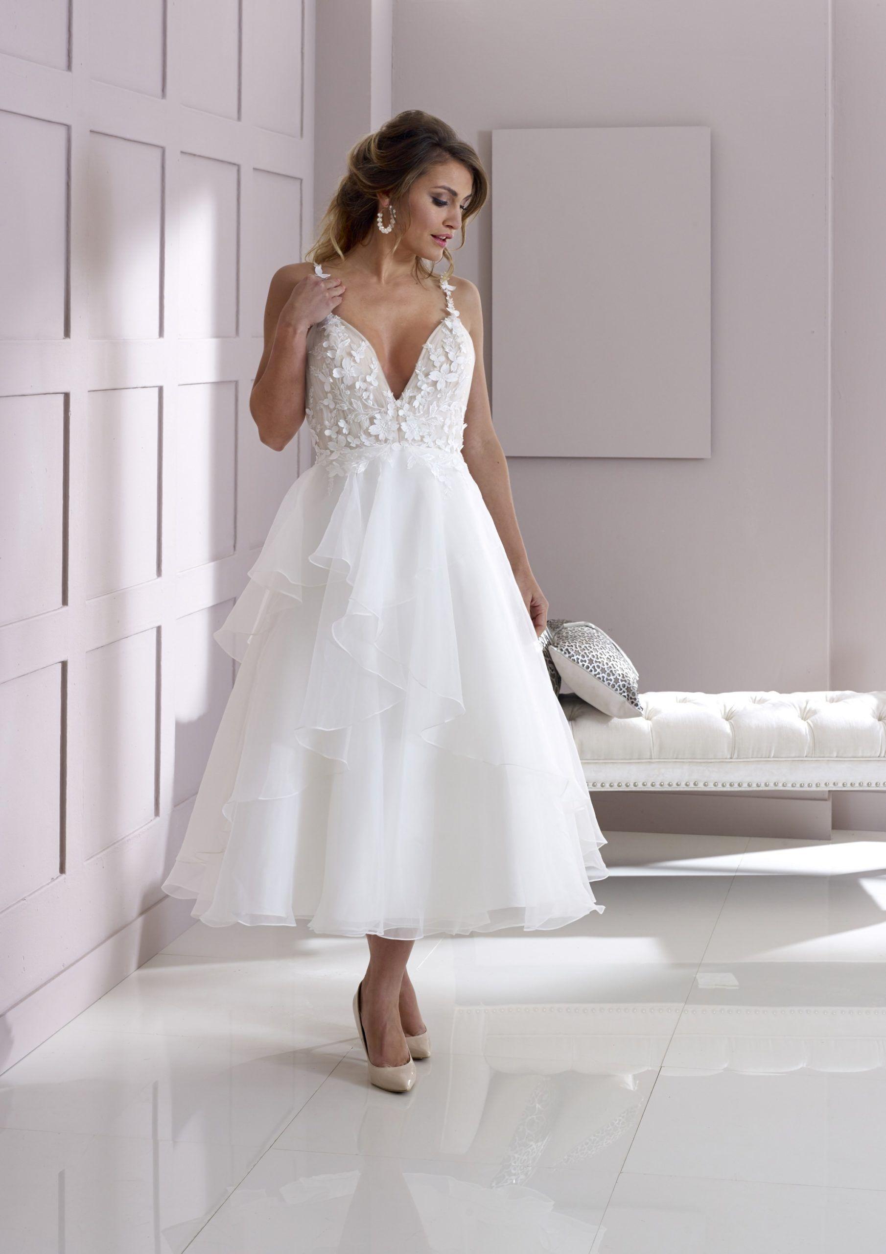 Style 2537 Tea Length Wedding Short Bridal Gown Wedding Dresses London [ 2560 x 1810 Pixel ]