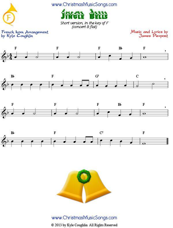 Jingle Bells Easy Version For French Horn Sheet Music Saxophone