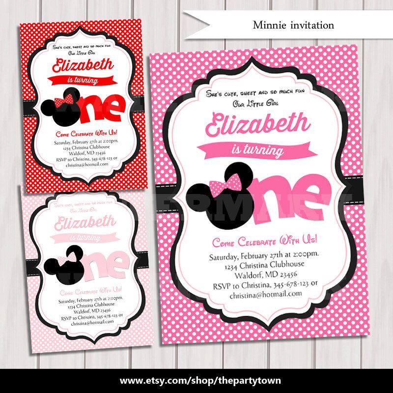 Minnie Birthday party invitation, Hot pink, pink, Red Minnie Mouse ...