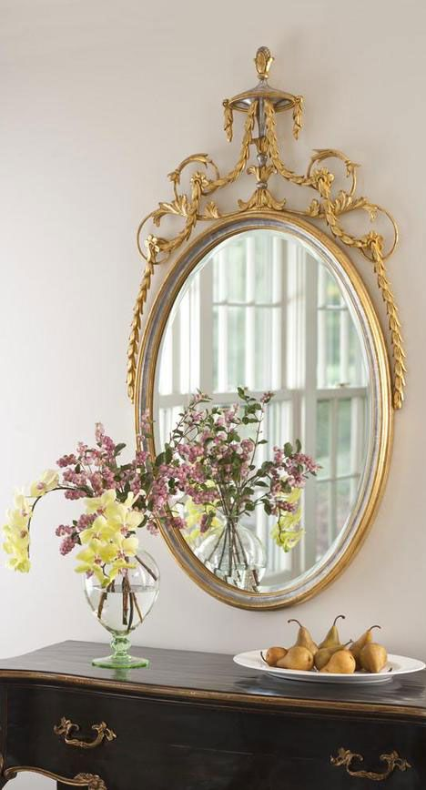 Elegant Decor With Adam Style Oval Wall Mirror Finished In