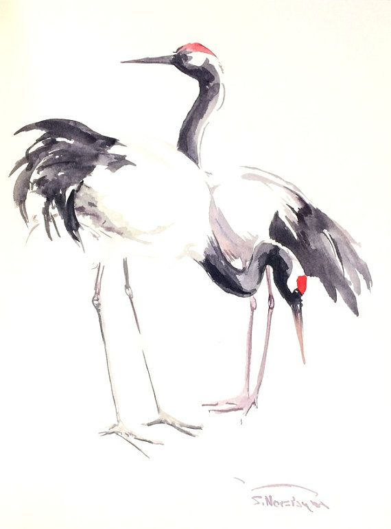 Japanese Crane Original Watercolor Painting 12 X 9 By Originalonly