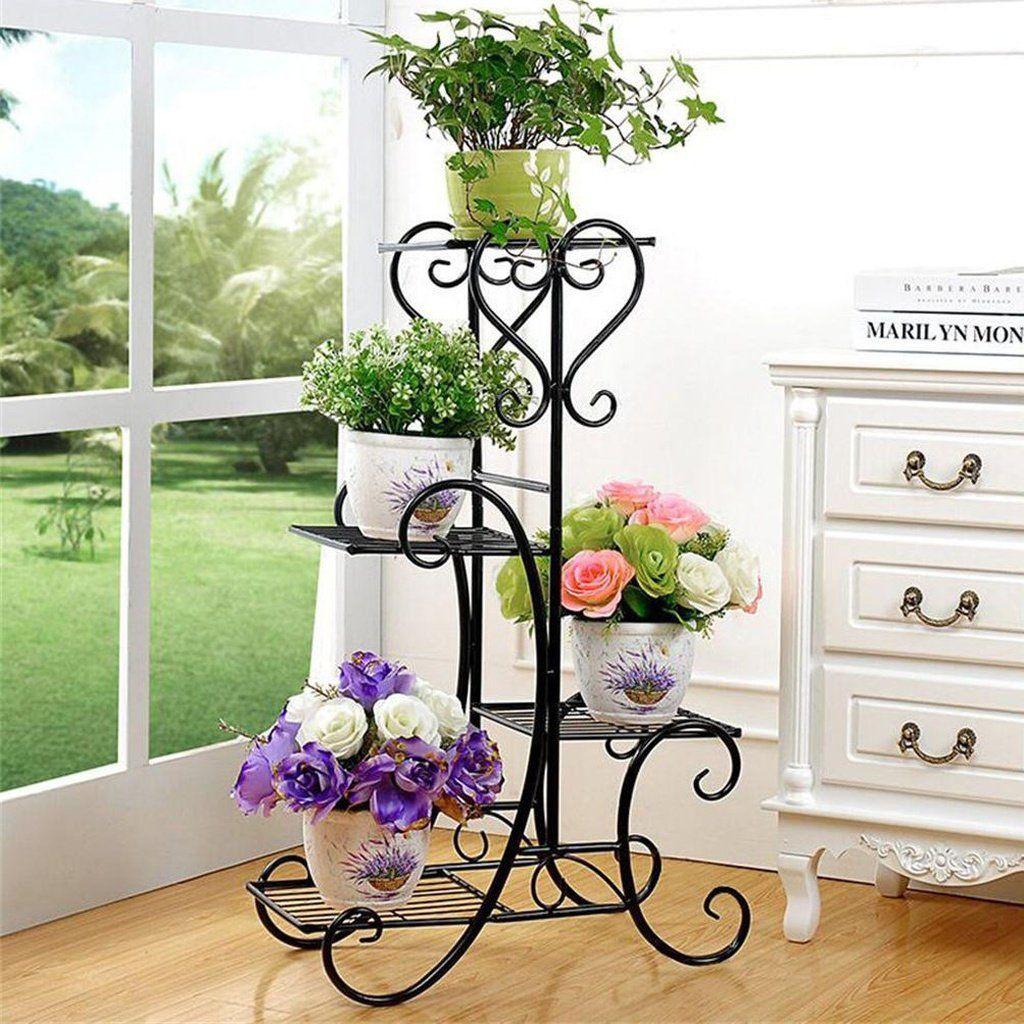 Black 4 tier metal plant flowers stand display shelf home
