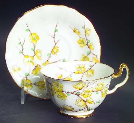 Adderley Chinese Blossom (Yellow Flowers) Footed Cup