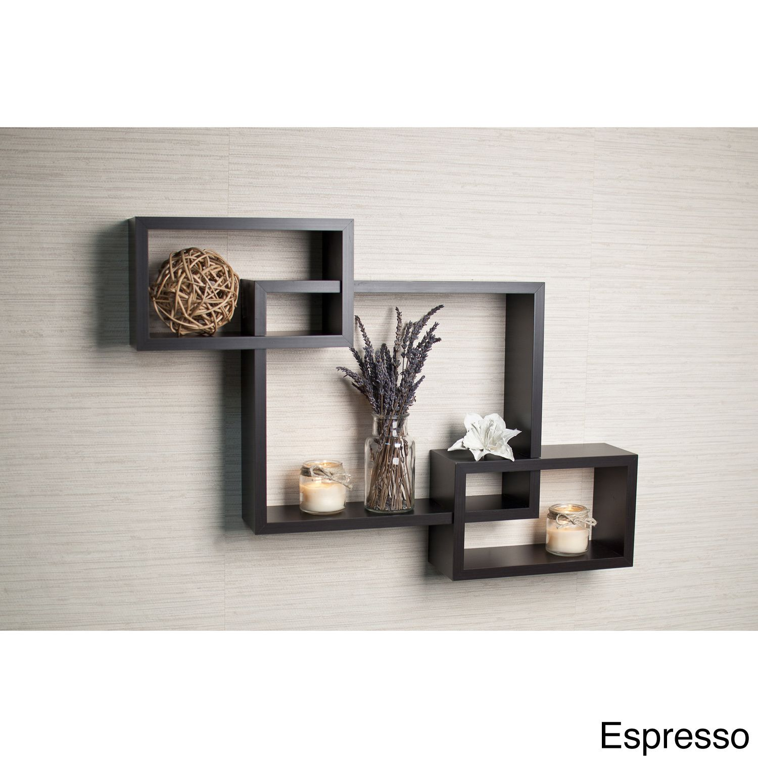 Description Decorative Wall Shelf This Intersecting Espresso Provides Three Storage Cubbies Plus Level Display Space On Top