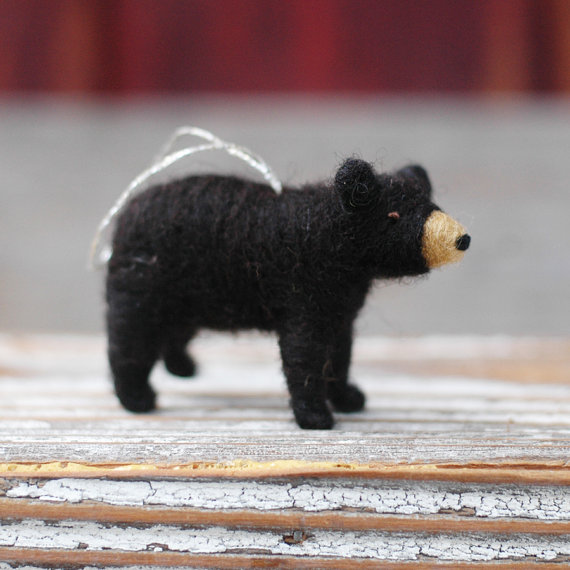 NEW for 2013 Small Black Bear Cub Needle by BossysFeltworks, $25.00 - Ships For XMAS - Small Black Bear Cub - Needle Felted Christmas