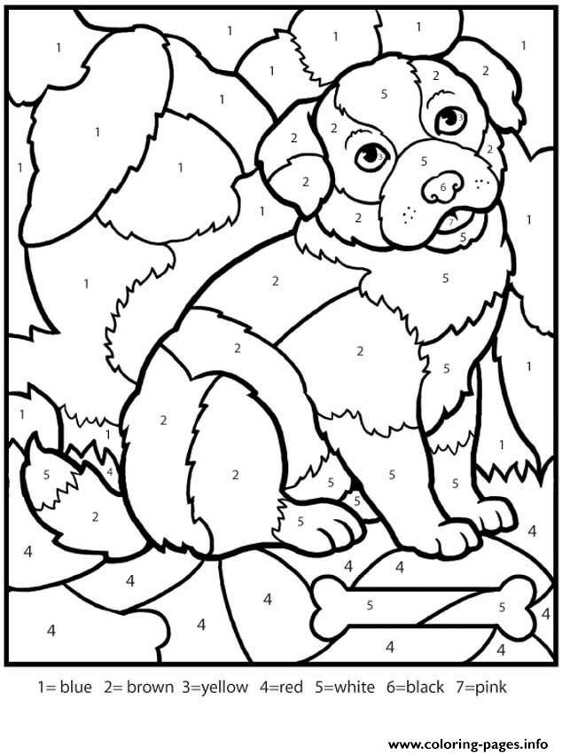 Print Color By Numbers Adult Worksheets Dog Coloring Pages
