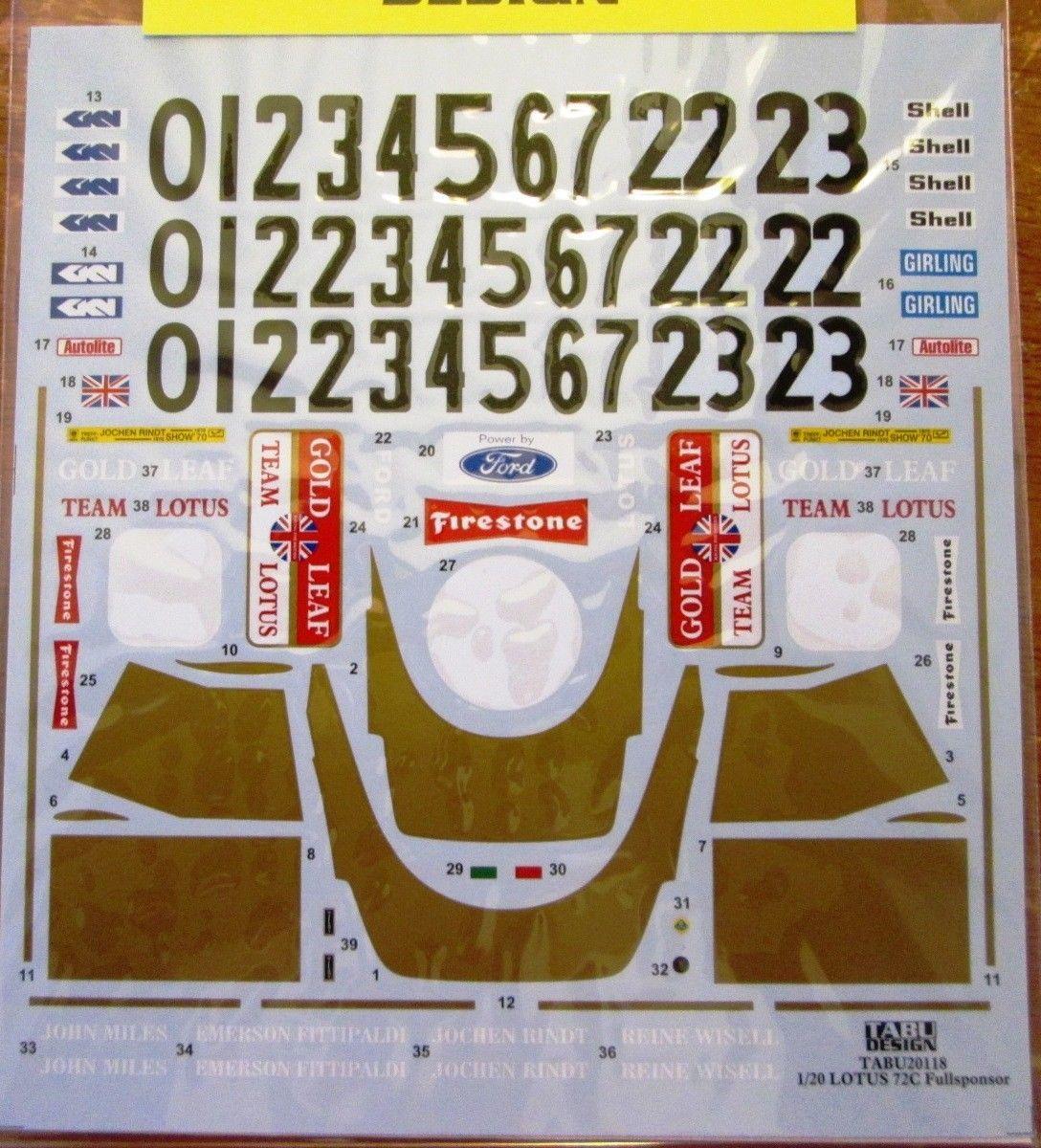 1 20 Scale 145973 Decal 1 20 Tab Lotus 72c Full Sheet Buy It