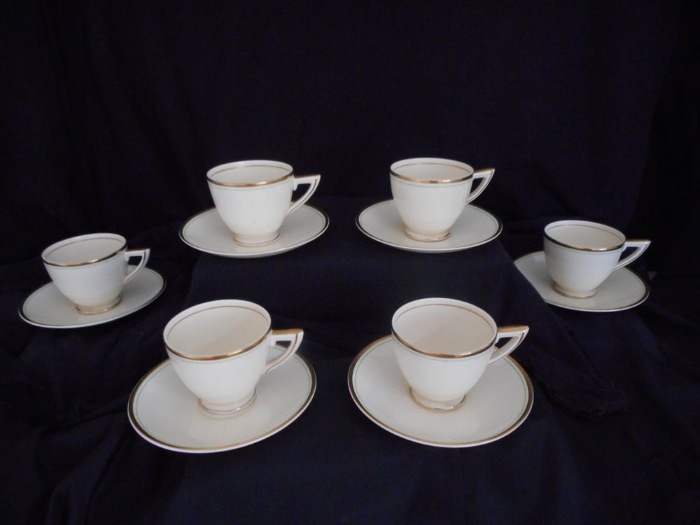 6 x (Duos) Coffee Cups & Saucers  Wedgwood & Co 1930 s ,Art Deco  Hermes  design