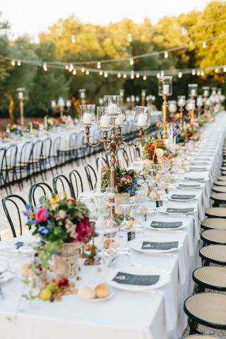 Boho Chic Wedding With Colorful Flowers And Gold Chandeliers. Long Table  Decorations In Frida Kahlo
