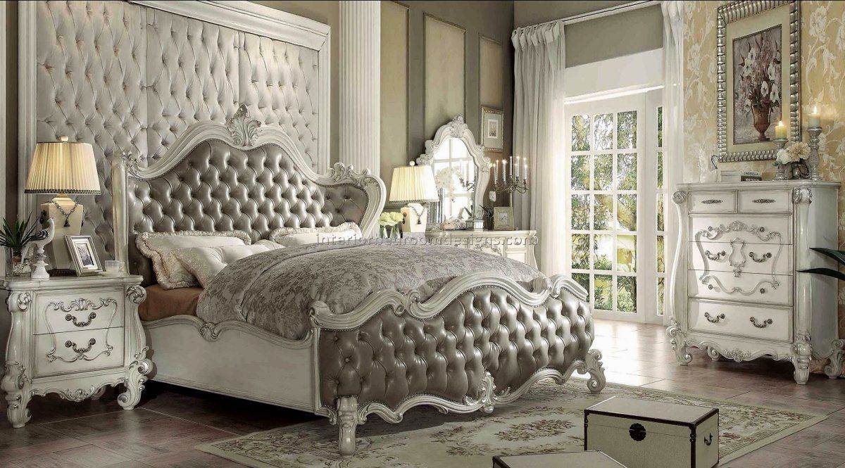 Superieur Romantic Hollywood Swank Bedroom Set With King Size Wooden Bed Frame, White  Painted Carving Wooden Bedroom Furniture, White Painted Carving Wooden  Bedroom ...