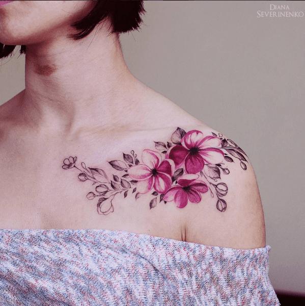 Tatouage Floral Sur Epaule Couleur Tatouage Tatouage Tatouage