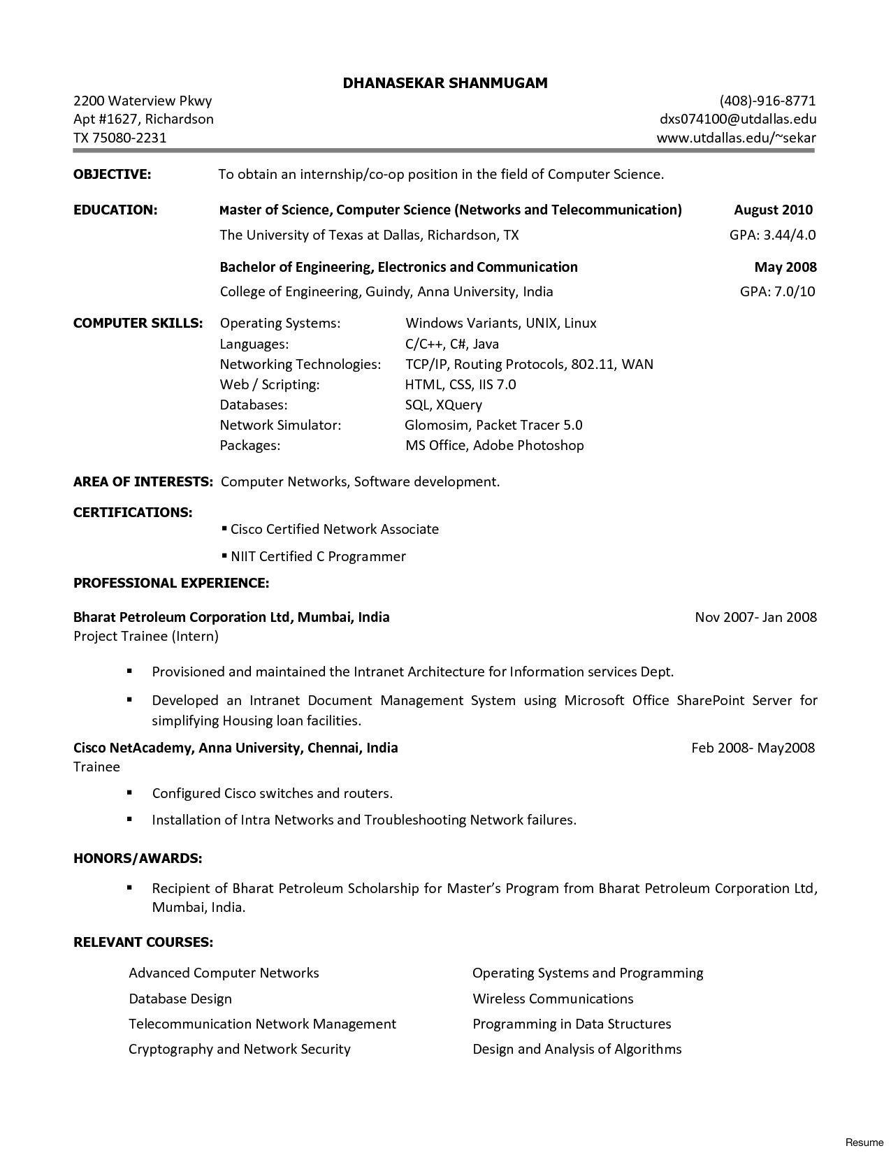 Resume College Student Computer Science Lovely Sle For Puter Fresher