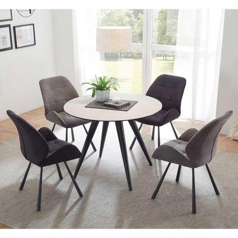 Runde Sitzgruppe Mit 4 Stuhlen Plovema 5 Teilig Veranda