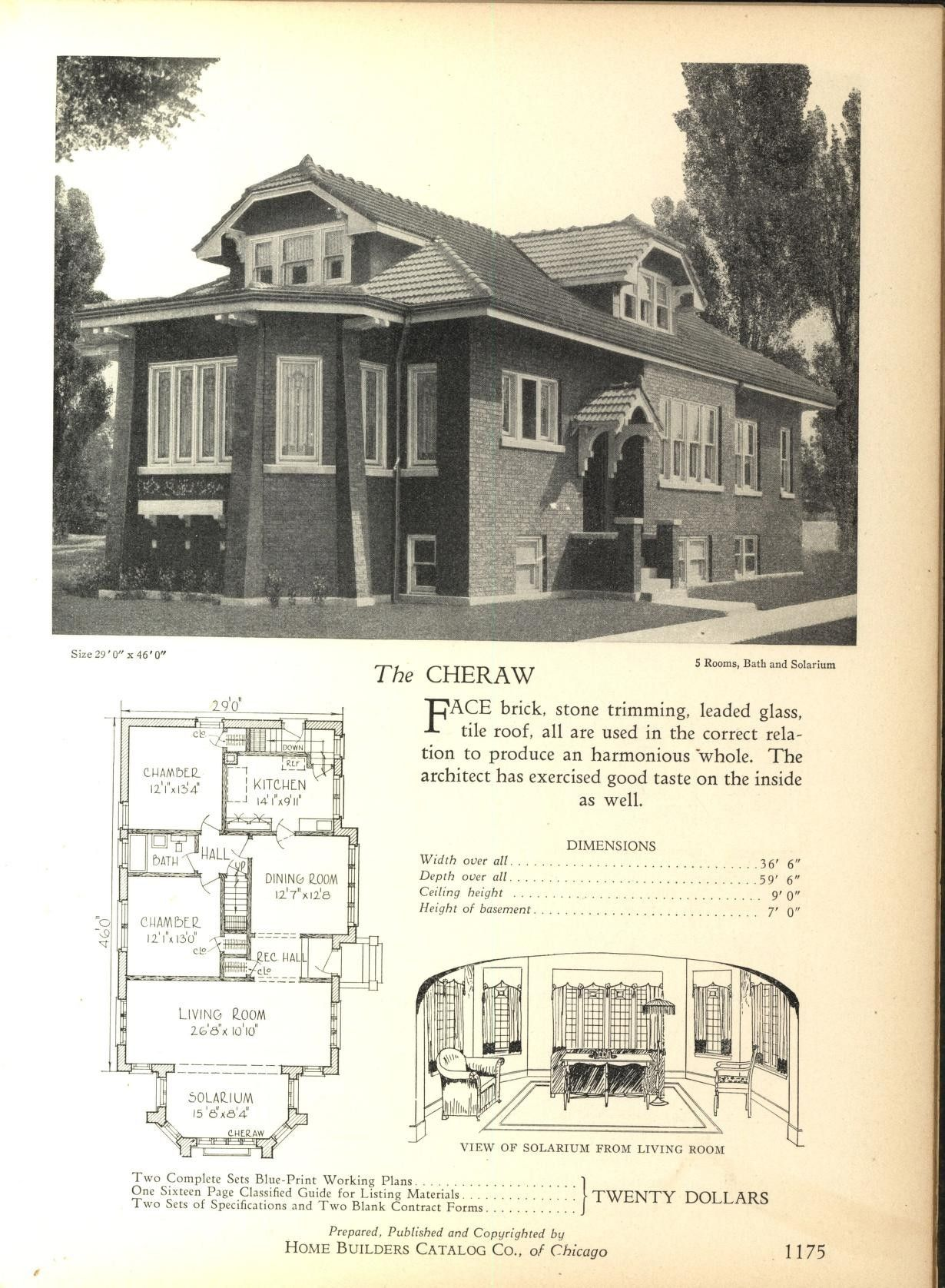1928 Home Builders Catalog Home Plan The Cheraw A Very Obvious Design Of One Of Many Styles Of Ch Bungalow Floor Plans Bungalow House Plans Chicago Bungalow