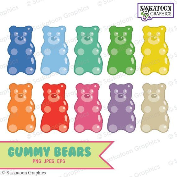 Gummy Bear Clipart Instant Download File Digital Graphics Cute Crafts Web Parties Commercial Personal Use Y002 In 2021 Gummy Bears Bear Clipart Clip Art