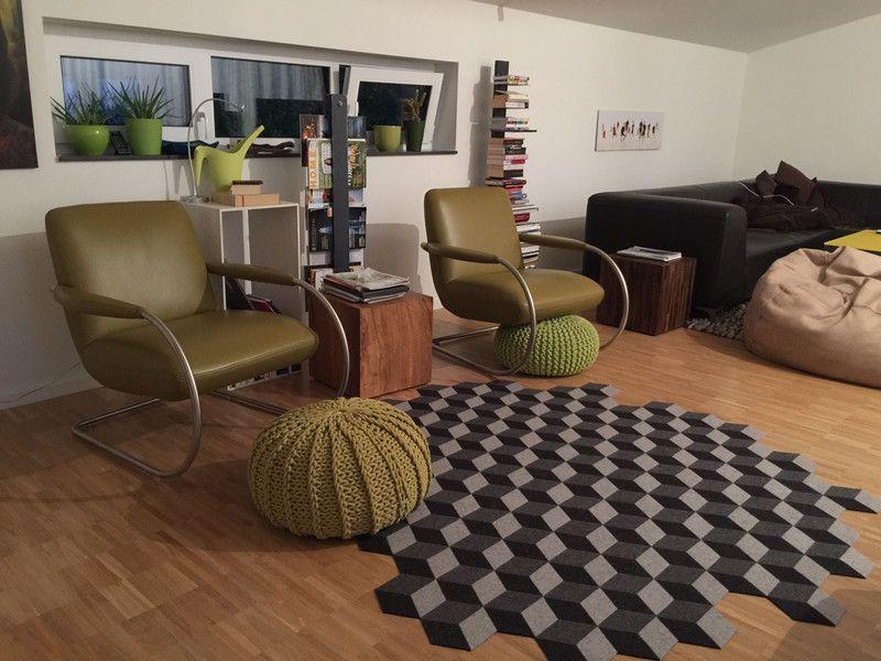 Teppiche Cube 110 Designteppich Aus Filz Mit 3d Effekt Ein Designerstuck Von Roh R Bei Dawanda Teppich Design Wohnen