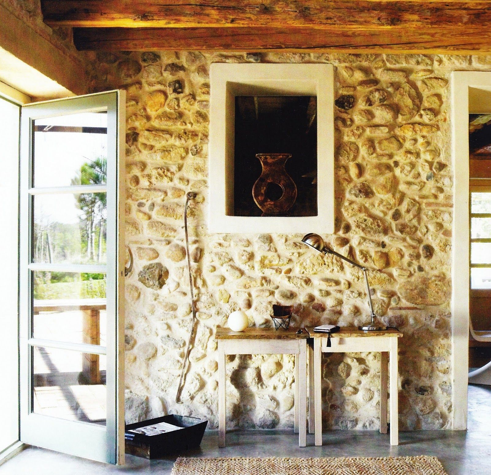 natural lighting | Spanish home | interior design | stone walls ...