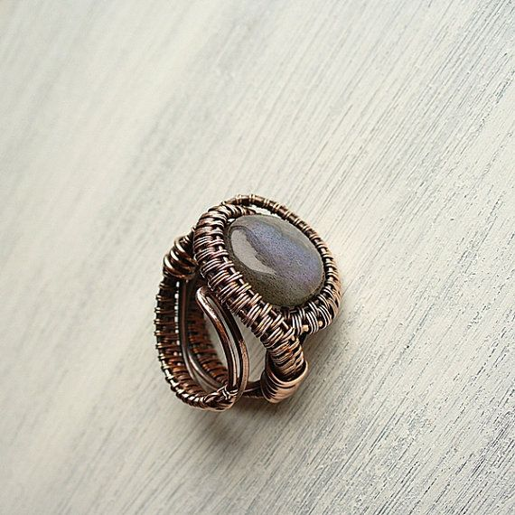 Labradorite Adjustable Ring Copper Wire Wrapped by StudioAngel