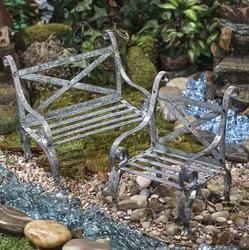 Miniature Gray Zinc Tin Bench and Chair Set - Fairy Garden Miniatures - Dollhouse Miniatures - Doll Making Supplies - Craft Supplies