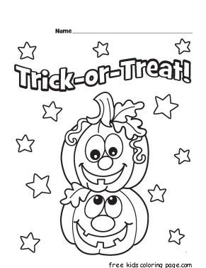 Printable Trick Or Treat Pumpkins Designs Coloring Page Halloween Coloring Sheets Pumpkin Coloring Pages Halloween Coloring