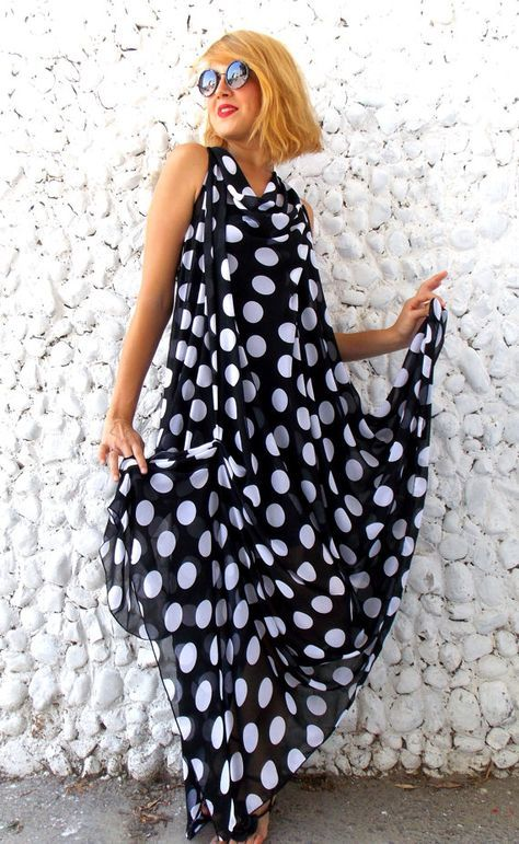 Asymmetrical Pattern Chiffon Dress
