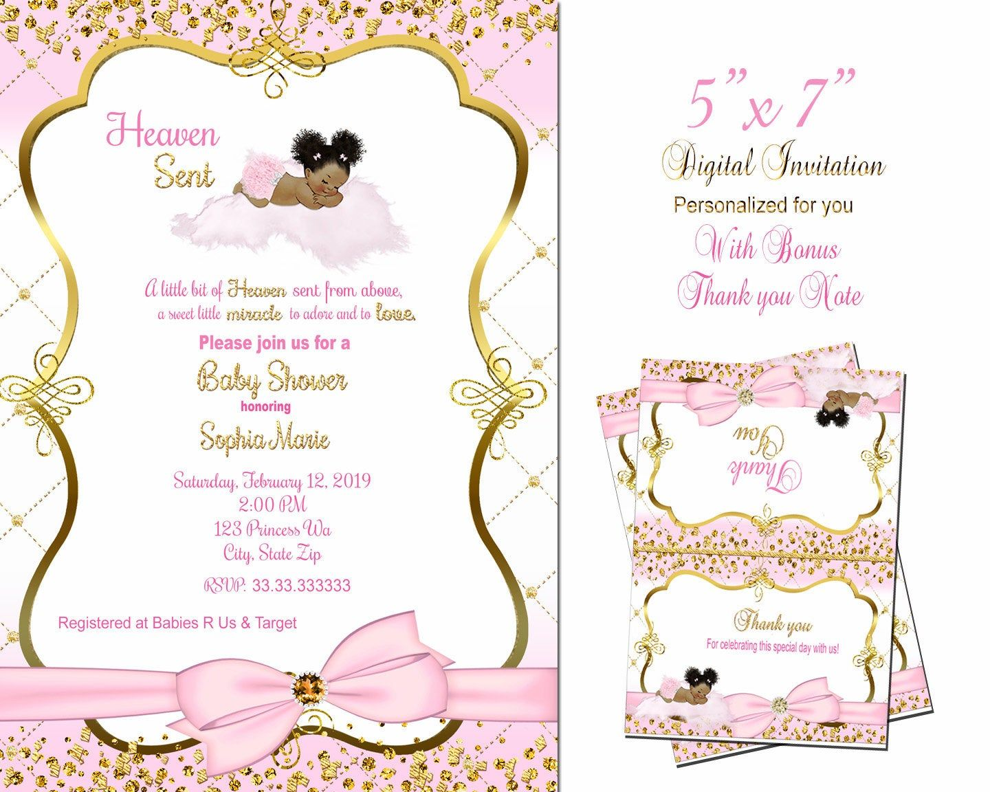 CUSTOM ANGEL From Heaven African American BABY Girl Shower INVITATIONS Personal