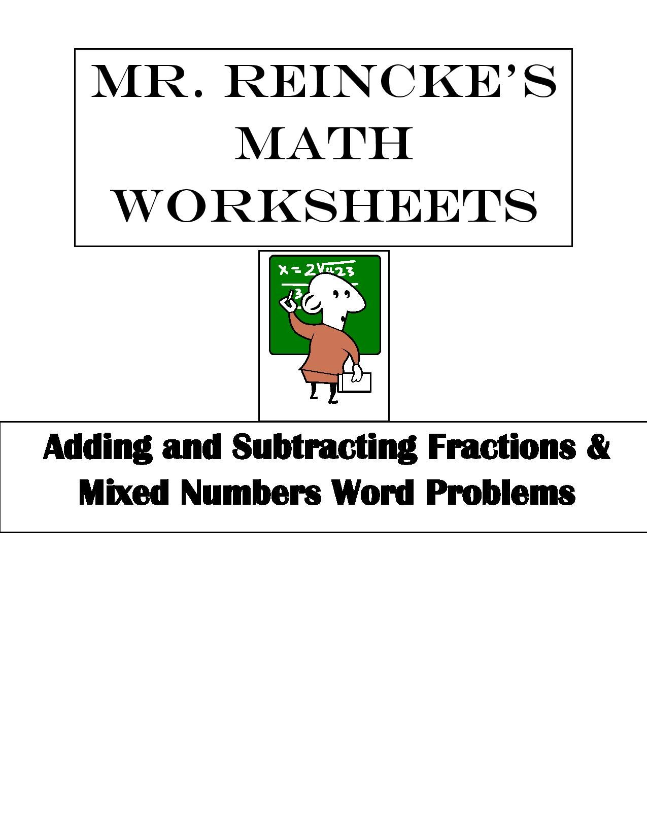 Adding And Subtracting Fractions Amp Mixed Numbers Word