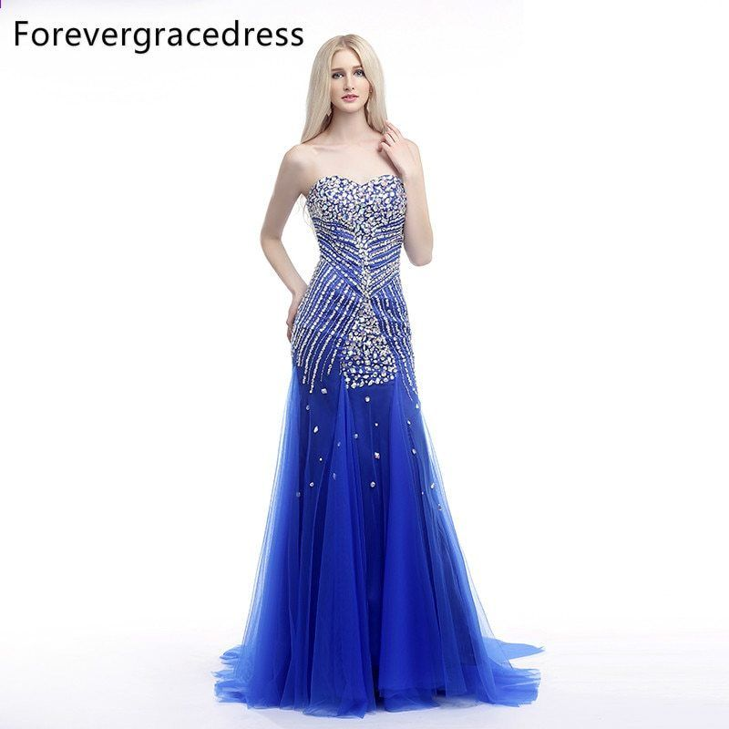 Forevergracedress Real Picture Blue Prom Kjole Ny Style Sweetheart Beaded  Krystaller Tulle Long Party Party Dress Plus Size 05451c244401