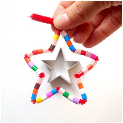 3x3 Sterne - mit Pfeifenputzer und Perlen #weihnachtsbastelnmitkindernunter3