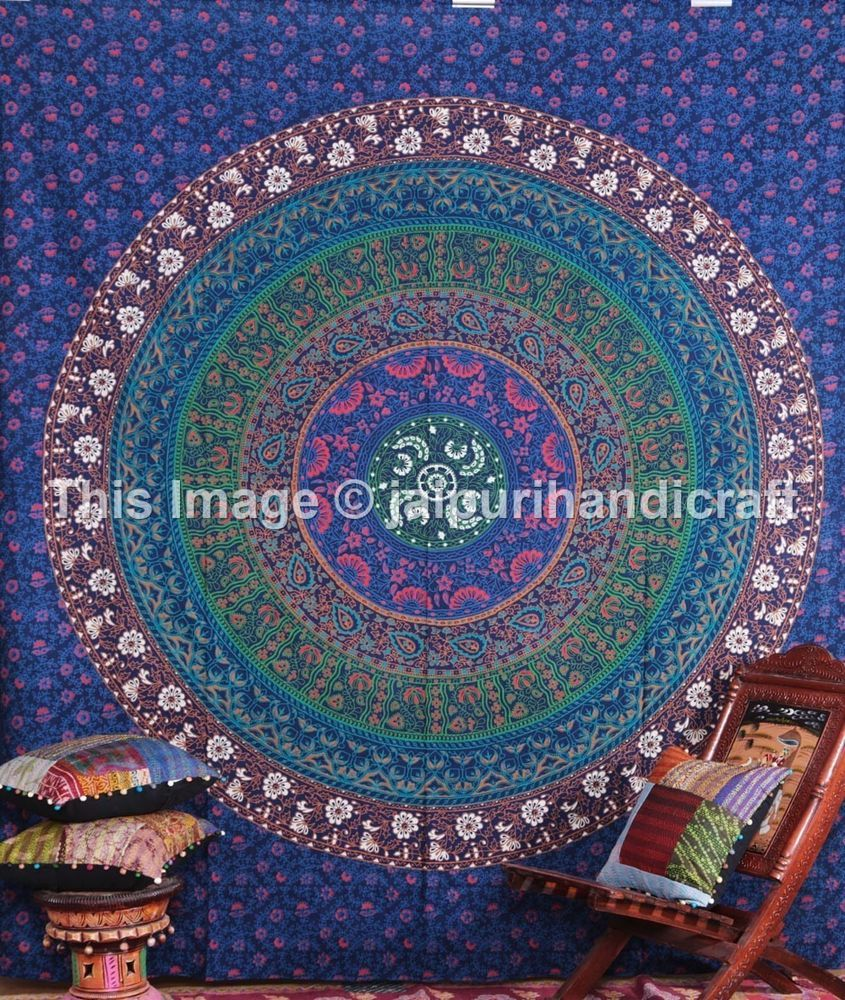 Round indian mandala tapestry bohemian wall hanging indian tapestry