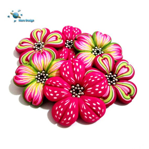 Handmade  flower beads  colorful flowers by marsdesign on Etsy