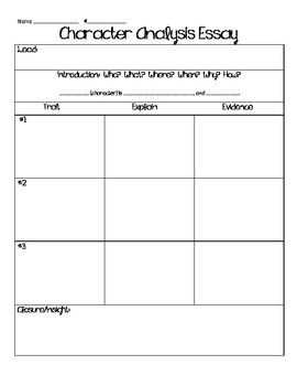 Character Analysis Essay Graphic Organizer Free  Forms