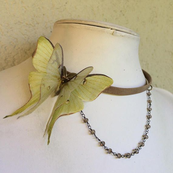 Victorian  Handmade Taupe Leather Choker with Cotton and Silk