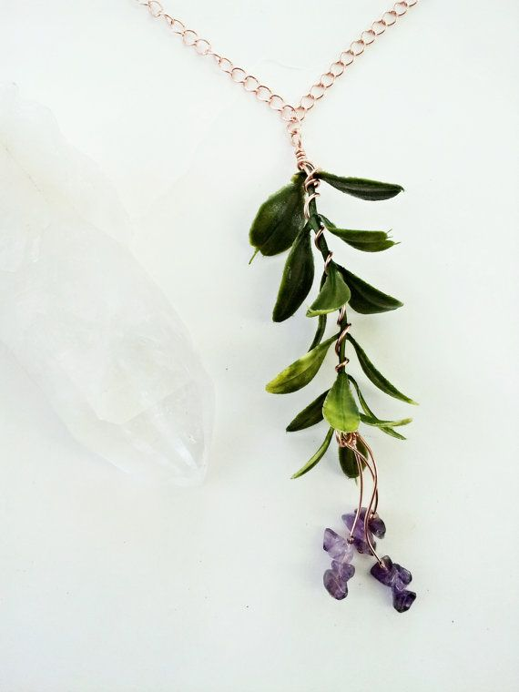 Amethyst Plant Necklace on a Long Copper Chain Green by CraneGoose