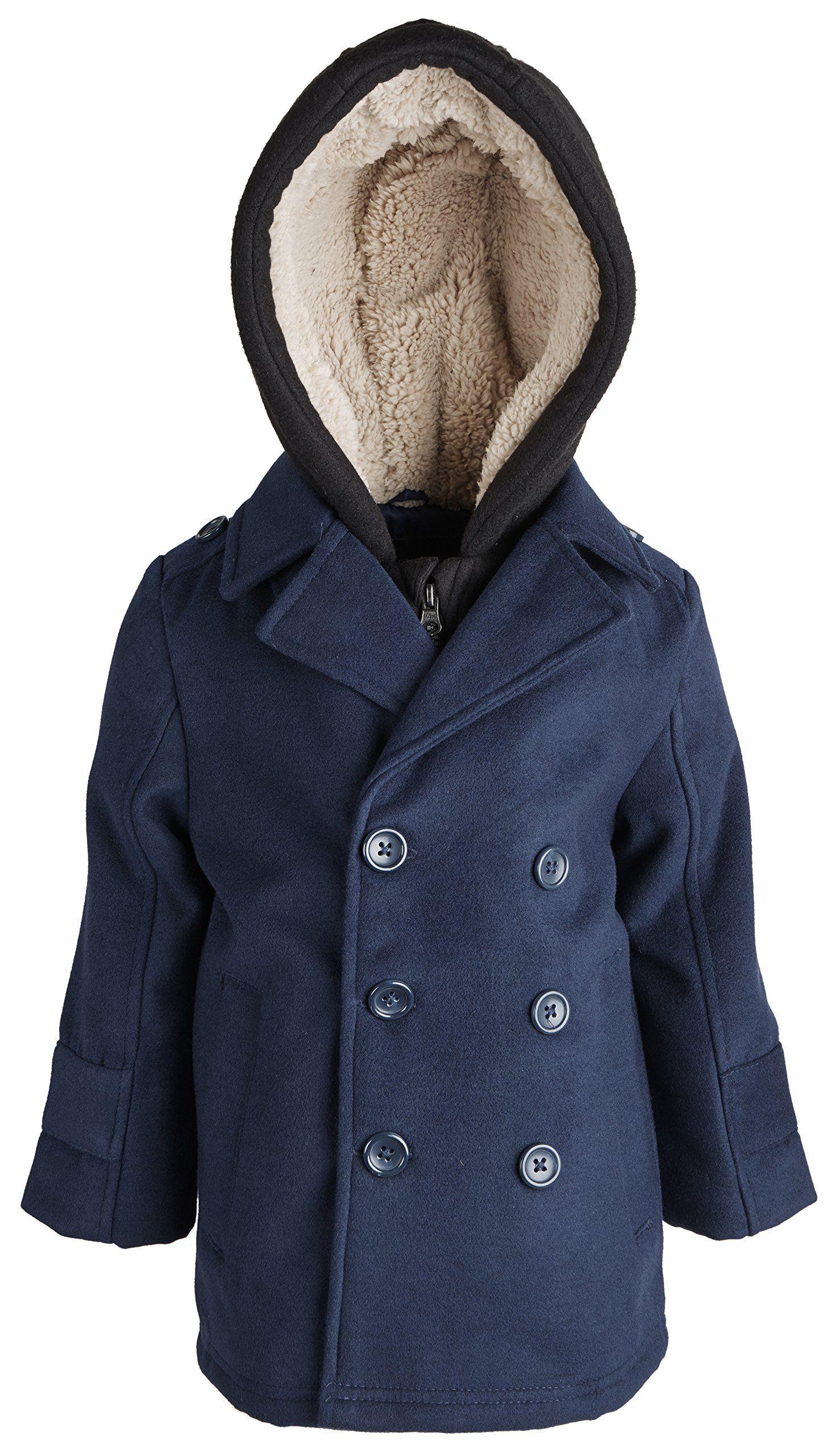 Londonfog Little Boys Double Breasted Wool Look Dressy Peacoat Jacket With Hood Navy Size 3t Hood Shell Contents 60 Peacoat Jacket Hooded Jacket Peacoat [ 2560 x 1469 Pixel ]
