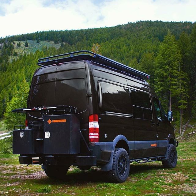 syncvans Sprinter van build with Aluminess gear out
