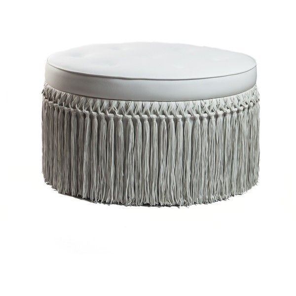 BARBARELLA LUXE LEATHER FRINGED OTTOMAN   FOOTSTOOLS   FOOTSTOOLS,... ❤  Liked On