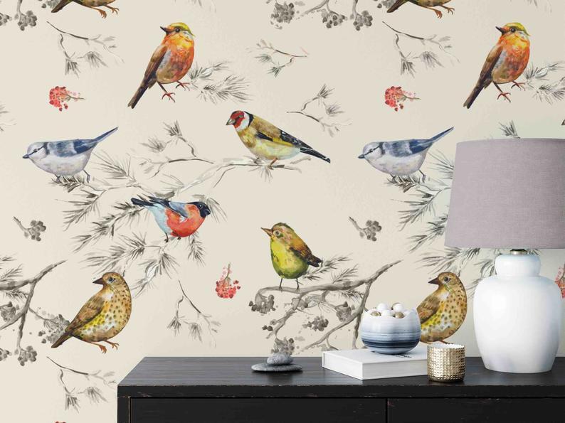 Bird Wallpaper Watercolor Birds Vintage Style Peel And Etsy Bird Wallpaper Wallpaper Peel And Stick Wallpaper