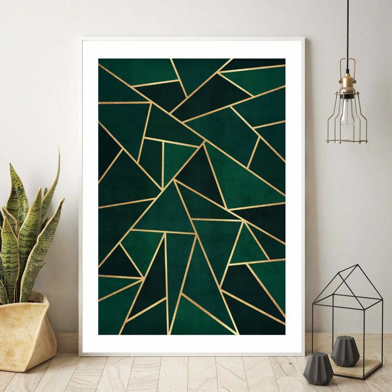 Dark Green And Gold Geometric Print Fine Art Print Painting Etsy Green Artwork Geometric Wall Paint Green Paintings