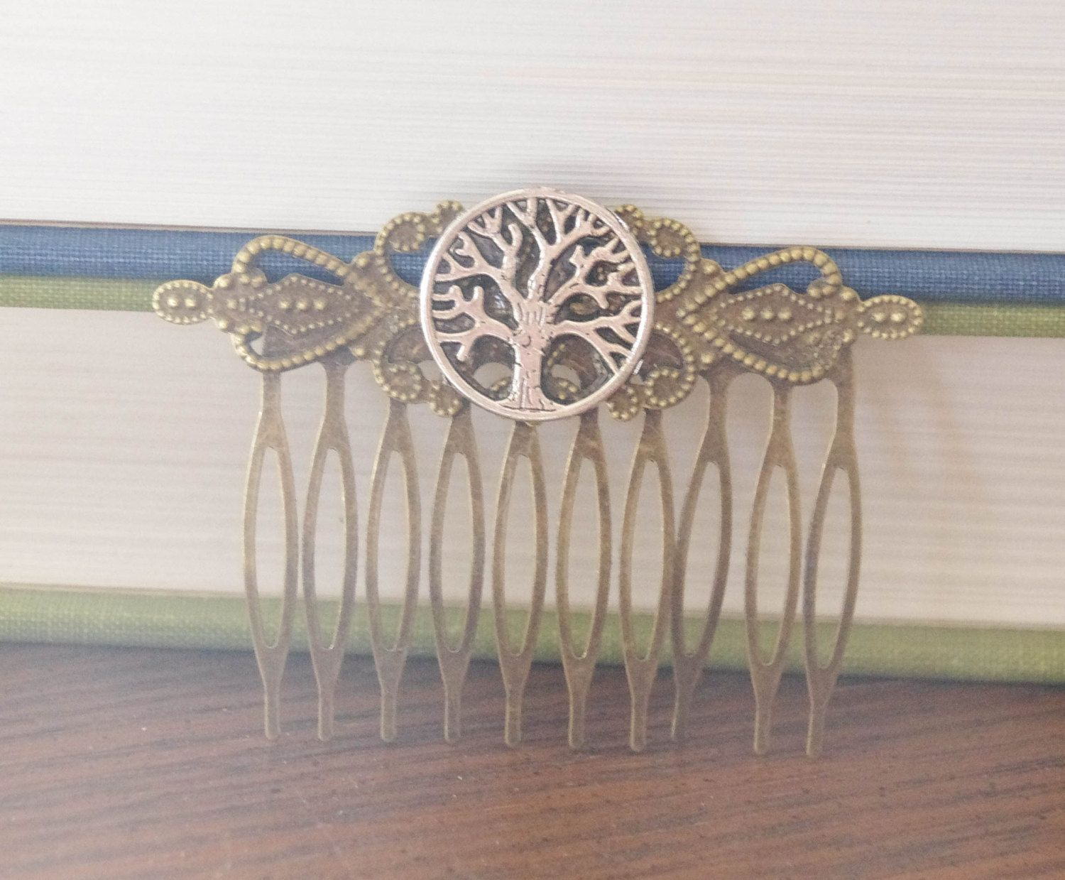 Tree of Life Hair Comb Rustic Woodland Hair Comb Tree Hair Clip Vintage Classic Hair Clip Tree of Life Gift for Mom Mixed Metal Comb by SmittenKittenKendall on Etsy