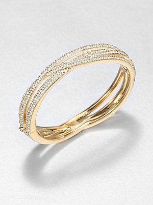 Adriana Orsini Pavé Crystal Intertwined Bangle Bracelet/Goldtone