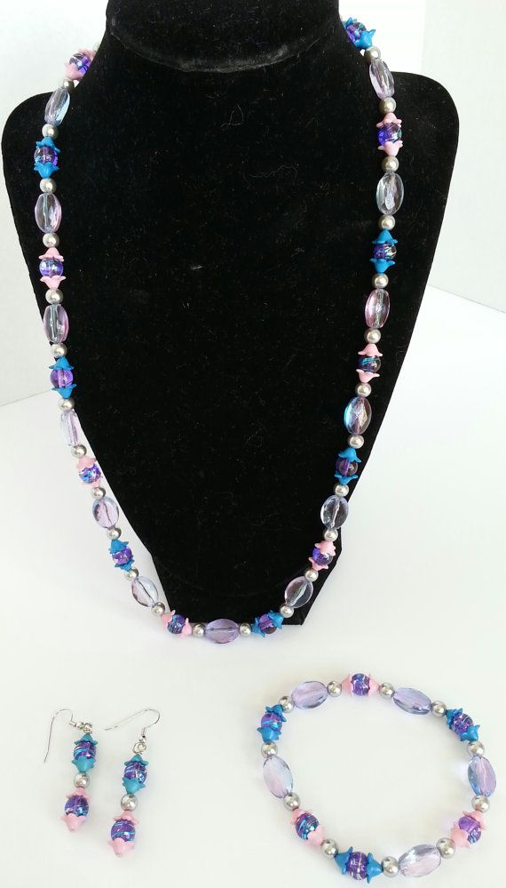 Whimsical Pink Purple Blue and silver Jewelry set. by DesignzByJ, $20.00