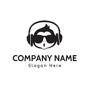 Black Headset And Man Head Logo Design 746893919431189695 Music Logo Music Logo Design Logo Design
