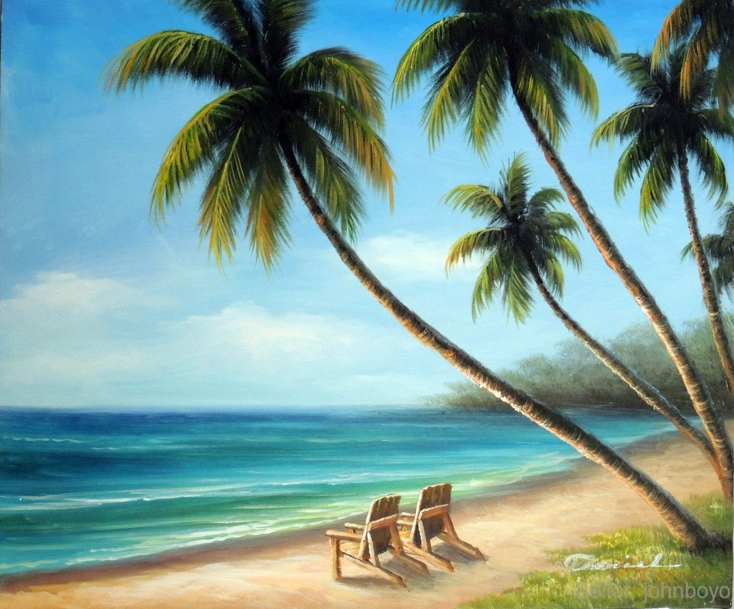 Palm Tree Beach Painting Chairs Sand S Tropical Trees