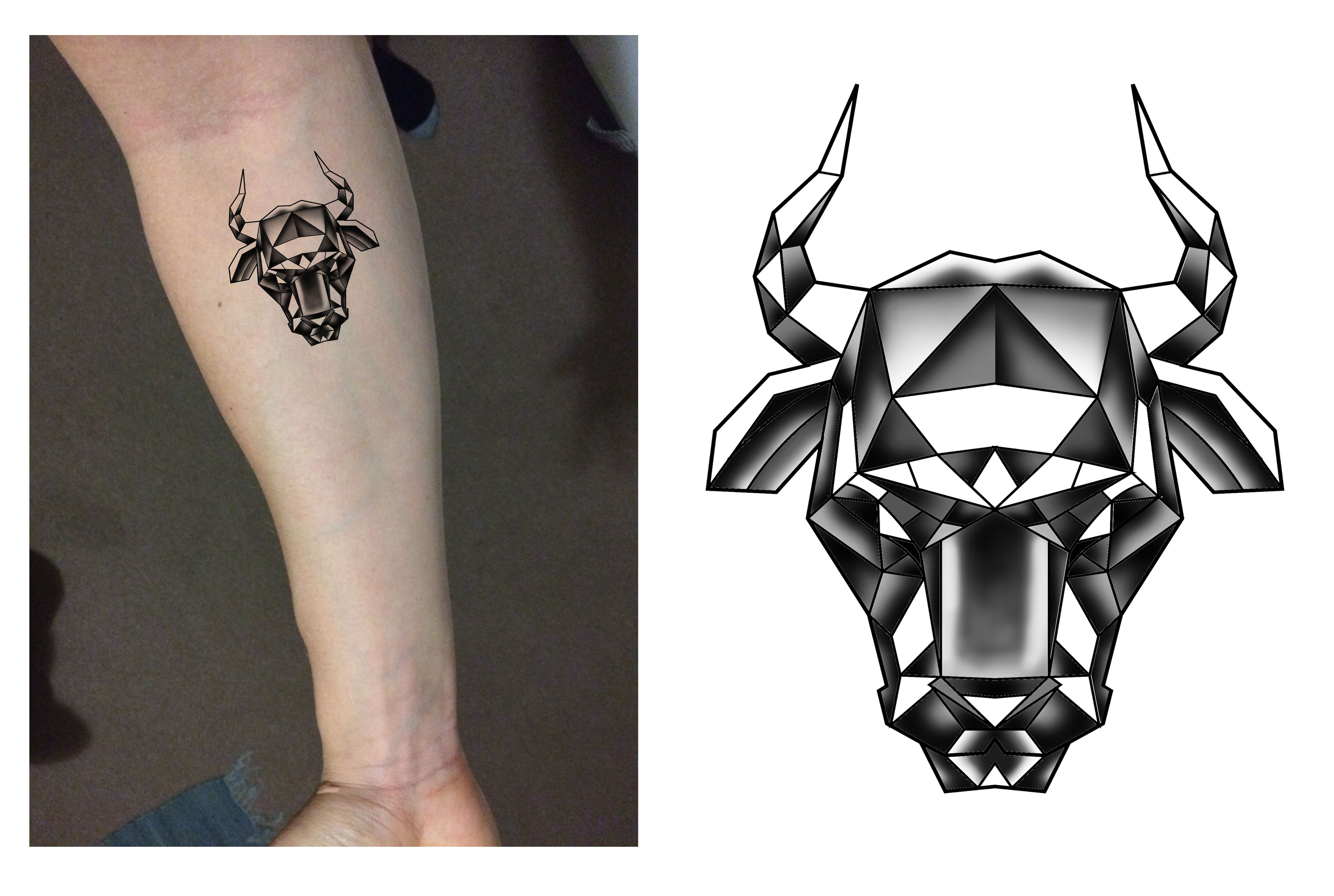 taurus bull head zodiac geometric tattoo design designer andrija protic tattoo concept. Black Bedroom Furniture Sets. Home Design Ideas
