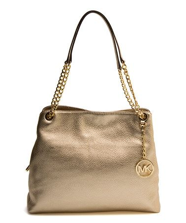 Look what I found on #zulily! Pale Gold Chain-Strap Leather Jet Set Tote #zulilyfinds